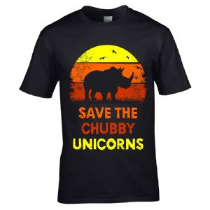 Premium Funny Retro save The Chubby Unicorns With African Rhino Sunset Motif Mens T-Shirt Top